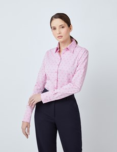 Women's Pink Dobby Leaves Fitted Shirt