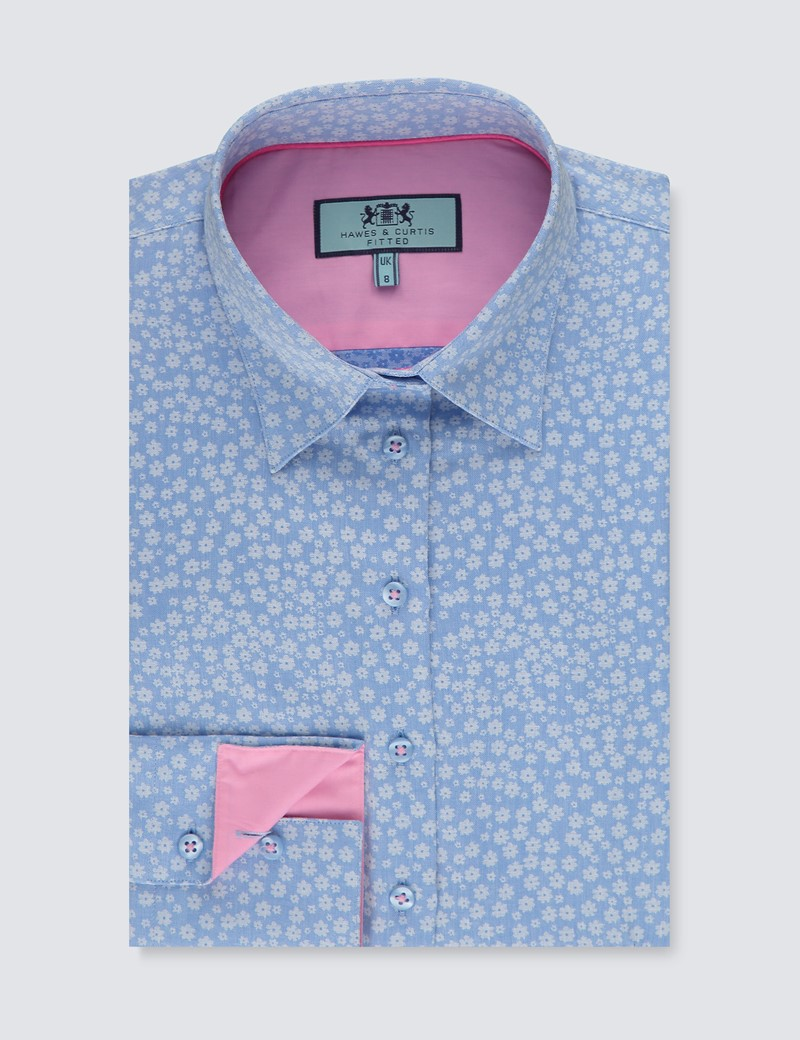 Women's Blue & White Dobby Floral Fitted Shirt