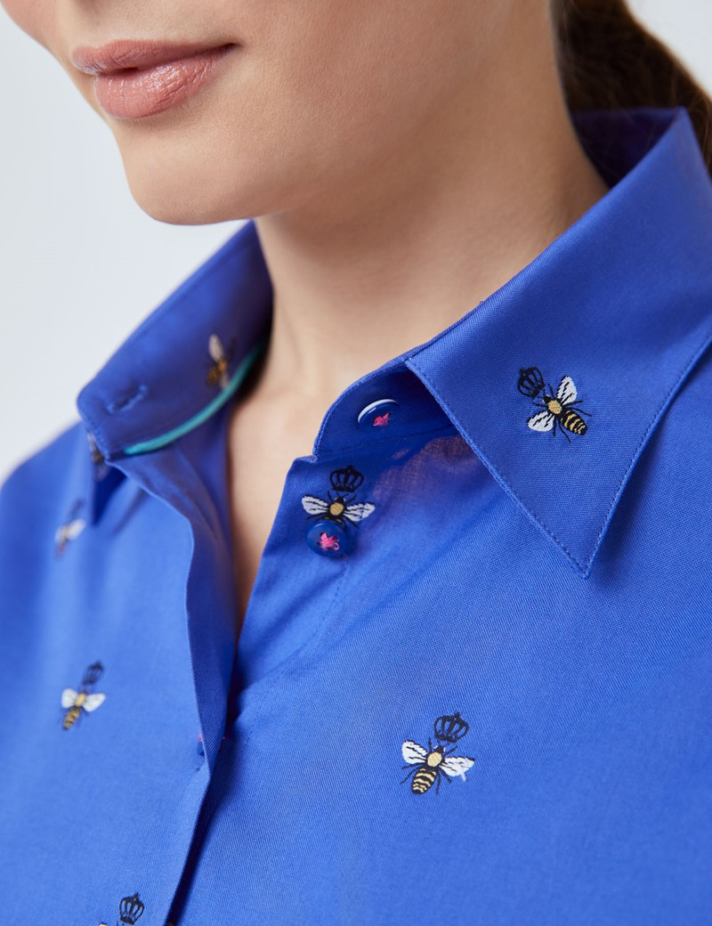 Women's Blue Bees Print Fitted Shirt