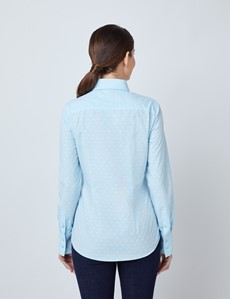 Women's Blue Dobby Small Spots Fitted Shirt