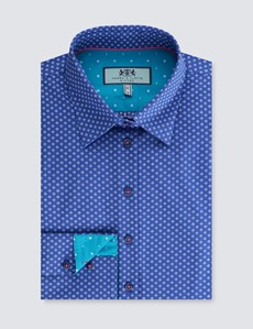 Women's Blue & White Dobby Spot Stretch Fitted Shirt - Single Cuff