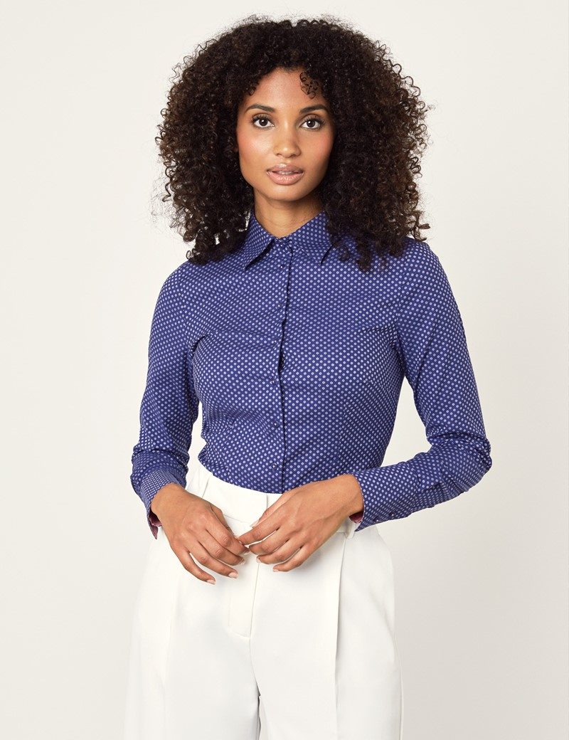 Women's Navy & White Dobby Spot Floral Stretch Fitted Shirt - Single Cuff