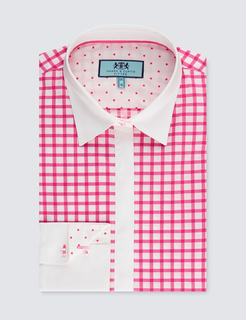 Women's Pink & White Grid Plaid Fitted Stretch Shirt - Single Cuff