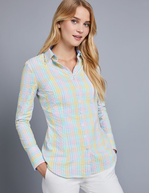 Women's Blue & Yellow Multi Plaid Fitted Shirt - Single Cuff