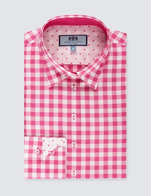 Women's Pink & White Medium Check Fitted Shirt - Single Cuff