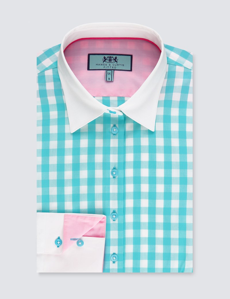 Women's Turquoise & White Gingham Check Fitted Shirt With Contrast Collar & Cuff- Single Cuff