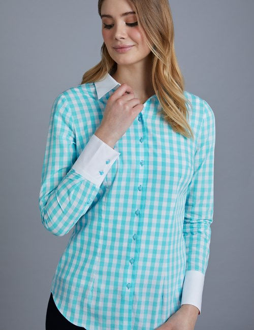 Women's Turquoise & White Gingham Plaid Fitted Shirt With Contrast Collar & Cuff- Single Cuff