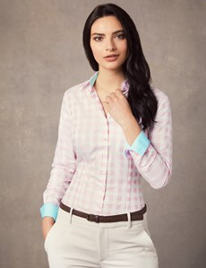 Women's Pink & White Gingham Plaid Fitted Shirt With Contrast Collar & Cuff - Single Cuff