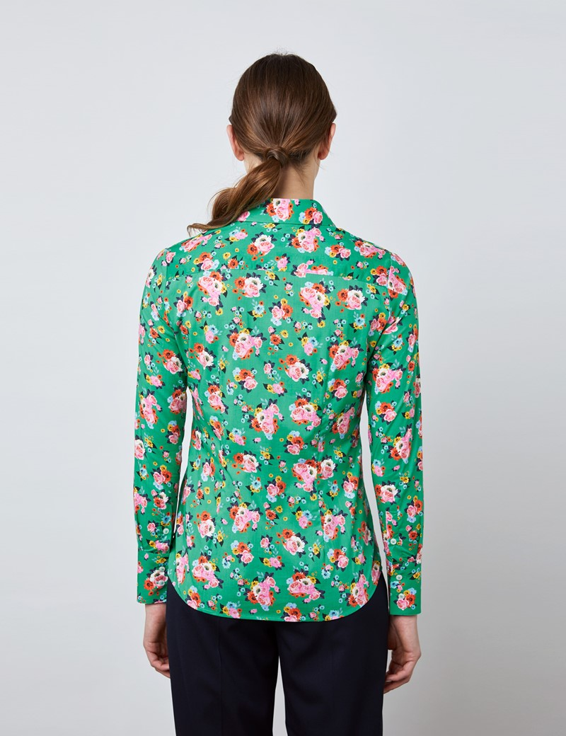 Women's Green & Pink Mini Bouquets Fitted Shirt - Single Cuff