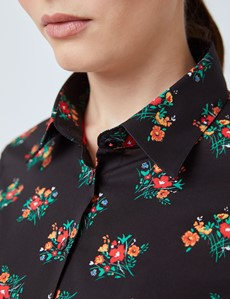 Women's Black & Red Floral Fitted Shirt