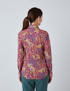 Women's Mustard & Purple Floral Paisley Fitted Shirt