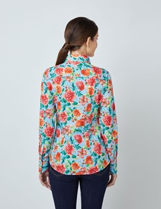 Women's Light Blue & Red Vintage Blossom Floral Print Fitted Shirt