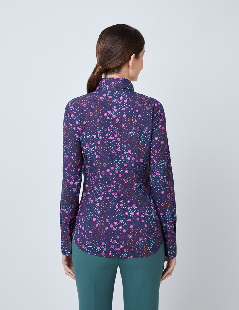 Women's Navy & Pink Daisy Print Fitted Shirt