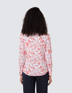 Women's White & Red Butterfly Print Fitted Shirt