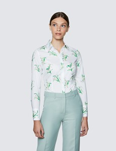 Women's White & Green Floral Print Fitted Cotton Stretch Shirt