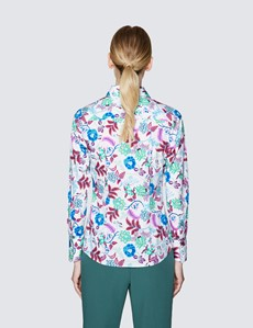 Ladies White and Pink Fitted Cotton Stretch Shirt