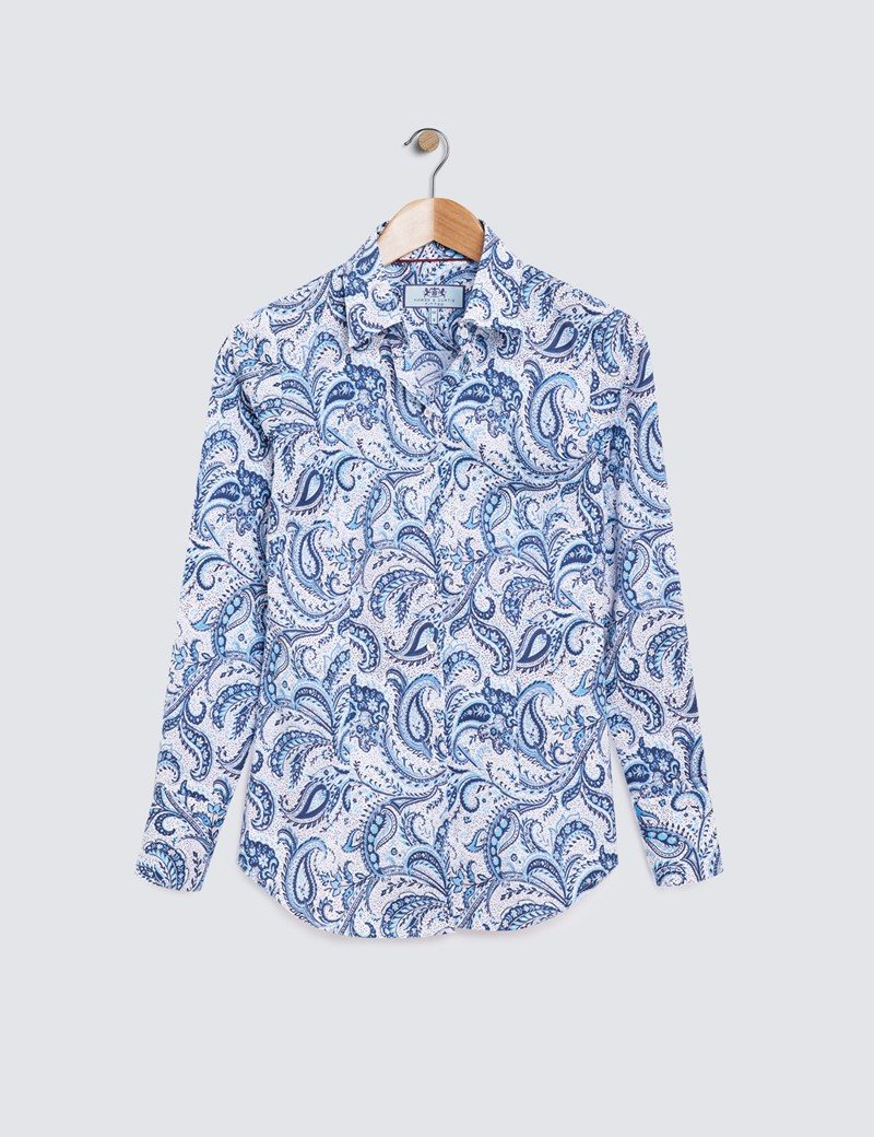 Women's White & Blue Paisley Print Fitted Cotton Stretch Shirt
