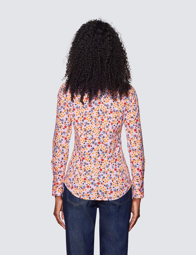 Women's Pink & Orange Floral Print Fitted Cotton Stretch Shirt