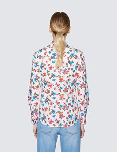 Women's White & Red Floral Print Fitted Cotton Stretch Shirt