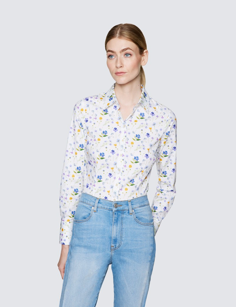 Women's White & Lilac Floral Print Fitted Cotton Stretch Shirt