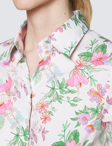 Women's Cream & Pink Floral Print Fitted Cotton Stretch Shirt