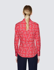 Women's Red & White Paisley Print Fitted Cotton Stretch Shirt