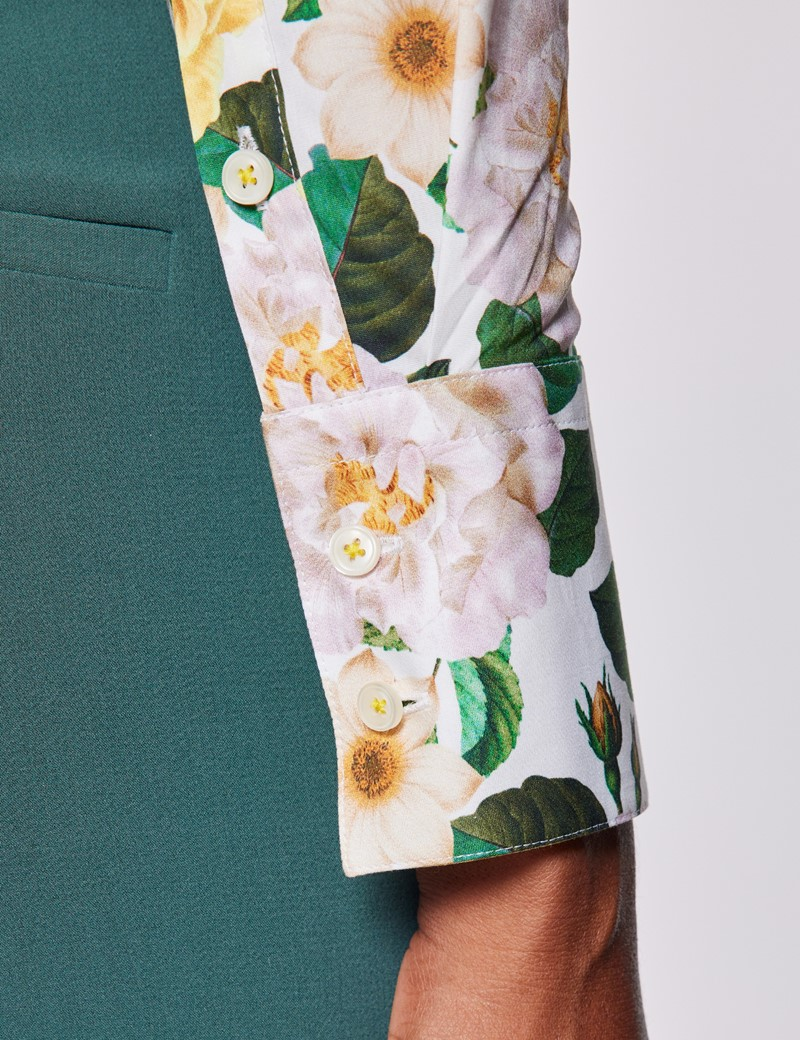 Women's Cream & Yellow Floral Print Fitted Cotton Stretch Shirt