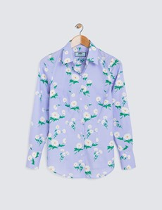Women's Lilac Floral Print Fitted Cotton Stretch Shirt