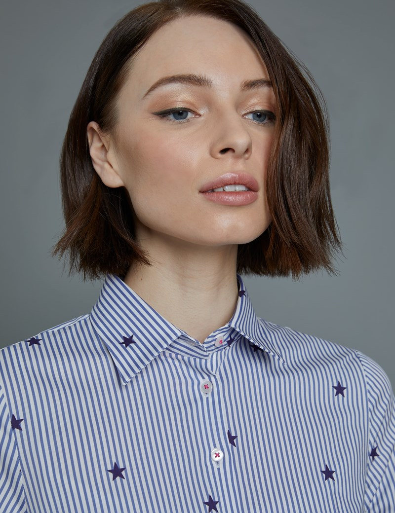 Women's Blue & White Stripes with Stars Print Fitted Shirt - Single Cuff