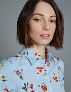 Women's Blue & White Stripe Floral Fitted Shirt - Single Cuff