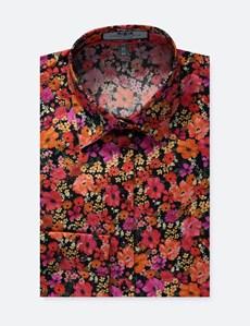 Women's Black & Orange Floral Fitted Shirt - Single Cuff