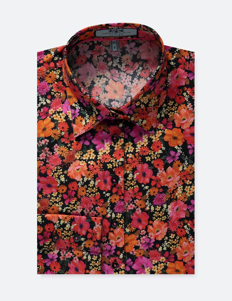 Women's Black & Orange Floral Fitted Shirt - Single Cuff