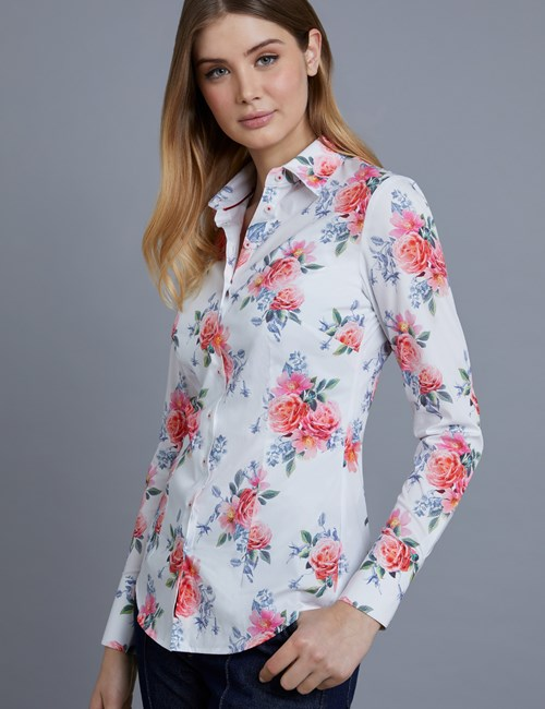 Women's White & Pink Floral Fitted Shirt - Single Cuff