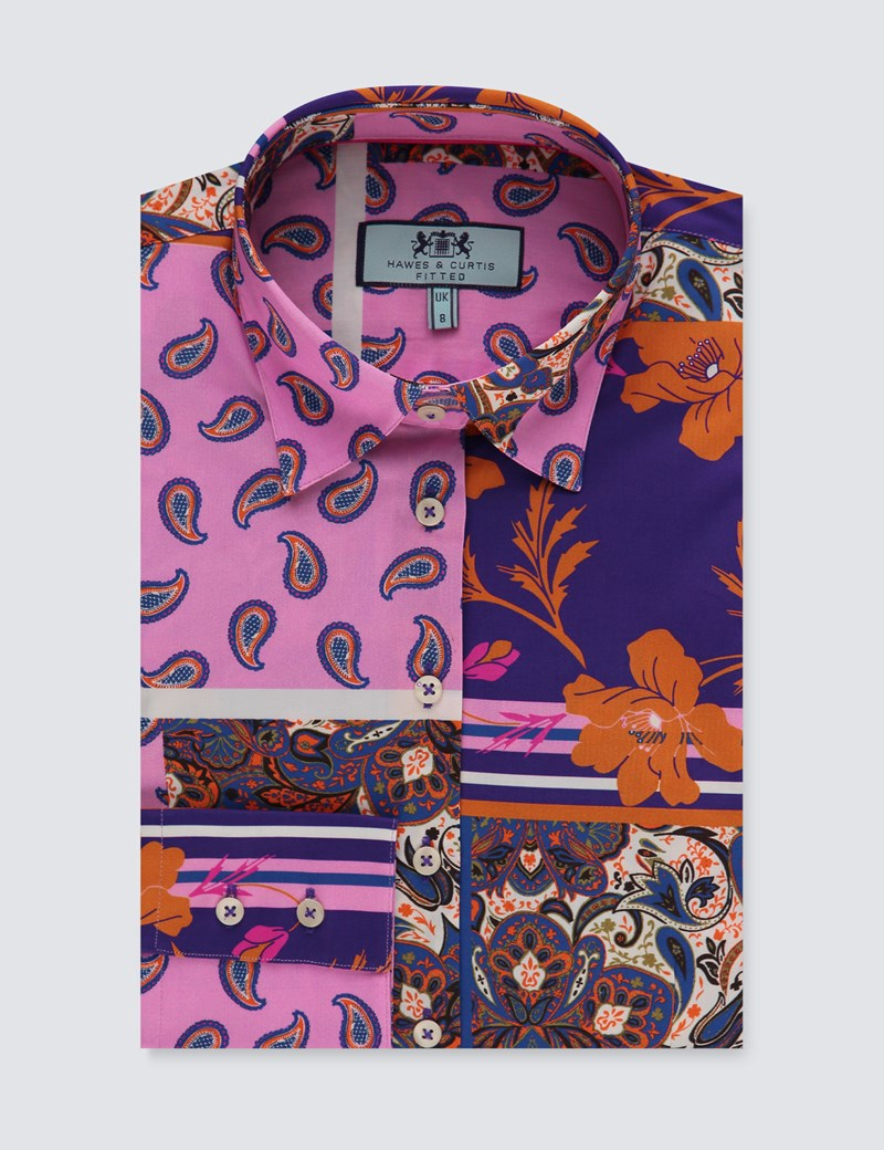 Women's Purple & Pink Patchwork Print Fitted Shirt - Single Cuff