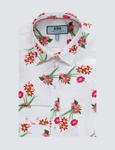 Women's White & Red Floral  Fitted Shirt - Single Cuff