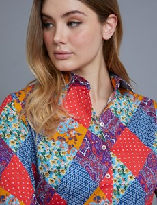 Women's Red Paisley Fitted Shirt - Single Cuff