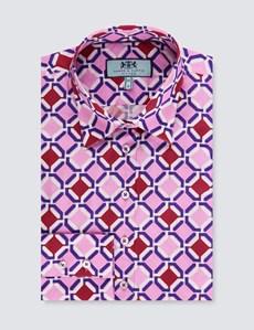 Women's Pink & Red Geometric Print Stretch Fitted Shirt - Single Cuff