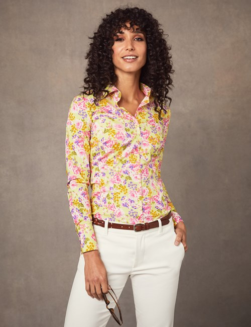 Bluse – Slim Fit – Baumwollstretch – English Rose