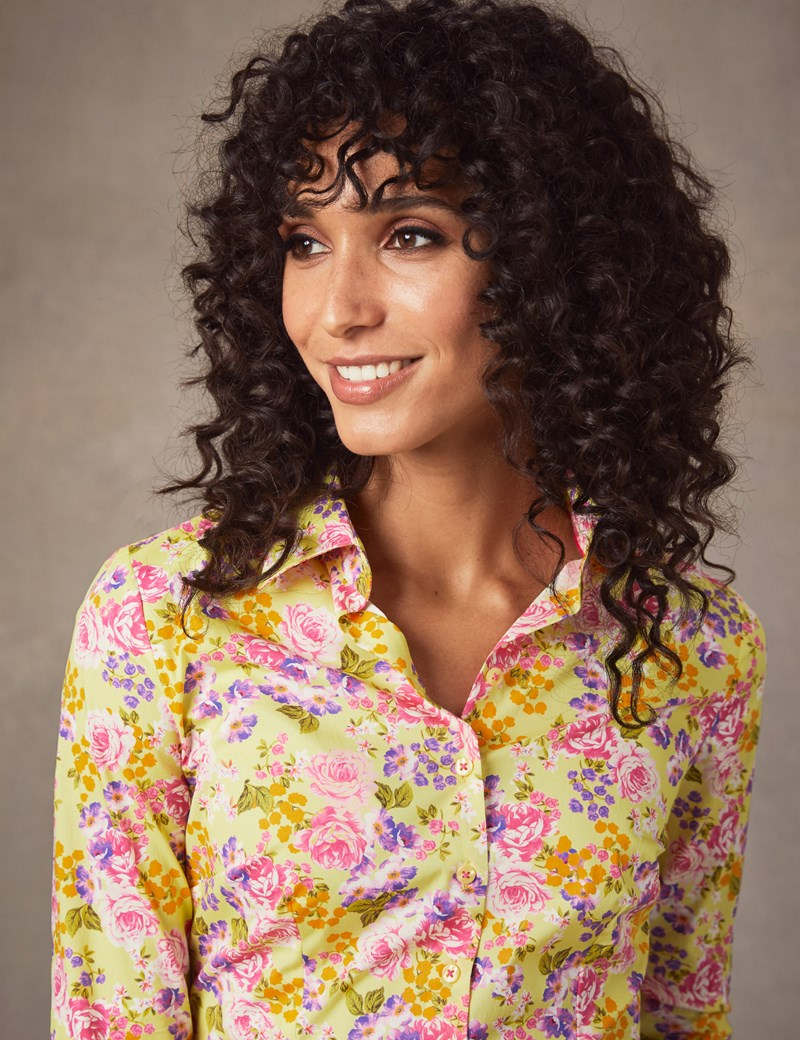 Women's Fuchsia & Yellow Floral Fitted Shirt - Single Cuff