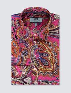 Women's Orange & Fuchsia Paisley Fitted Shirt - Single Cuff