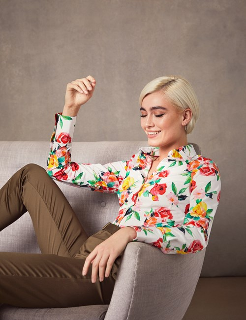 Women's Yellow & Red Floral Fitted Shirt - Single Cuff