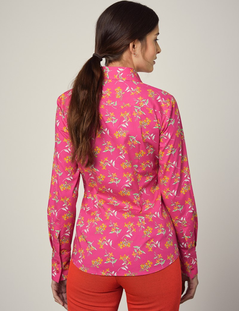 Bluse – Slim Fit – Baumwollstretch – Blumendesign fuchsia & orange