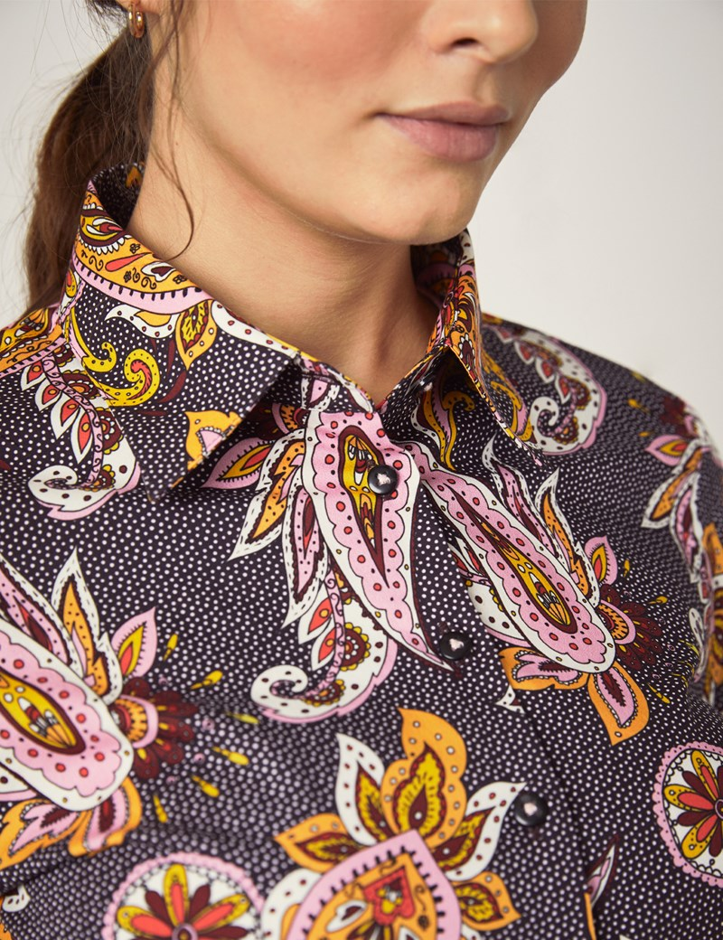 Women's Black & Gold Paisley Spot Fitted Shirt - Single Cuff