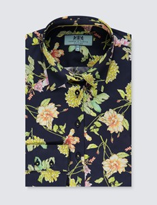 Women's Navy & Green Floral Fitted Shirt - Single Cuff