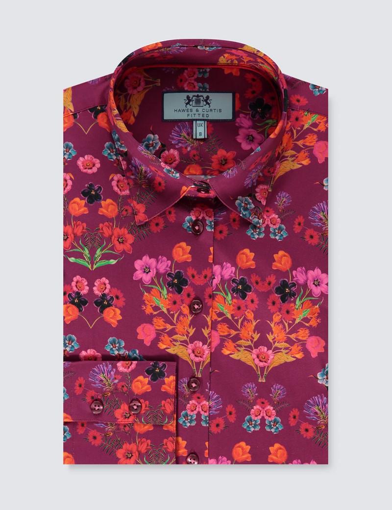 Bluse – Slim Fit – Baumwollstretch – Blumen lila & rot