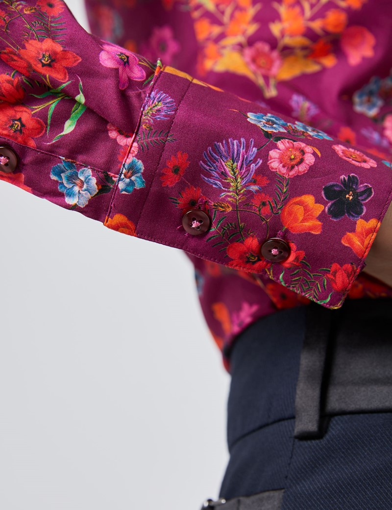Women's Purple & Red Floral Fitted Shirt - Single Cuff
