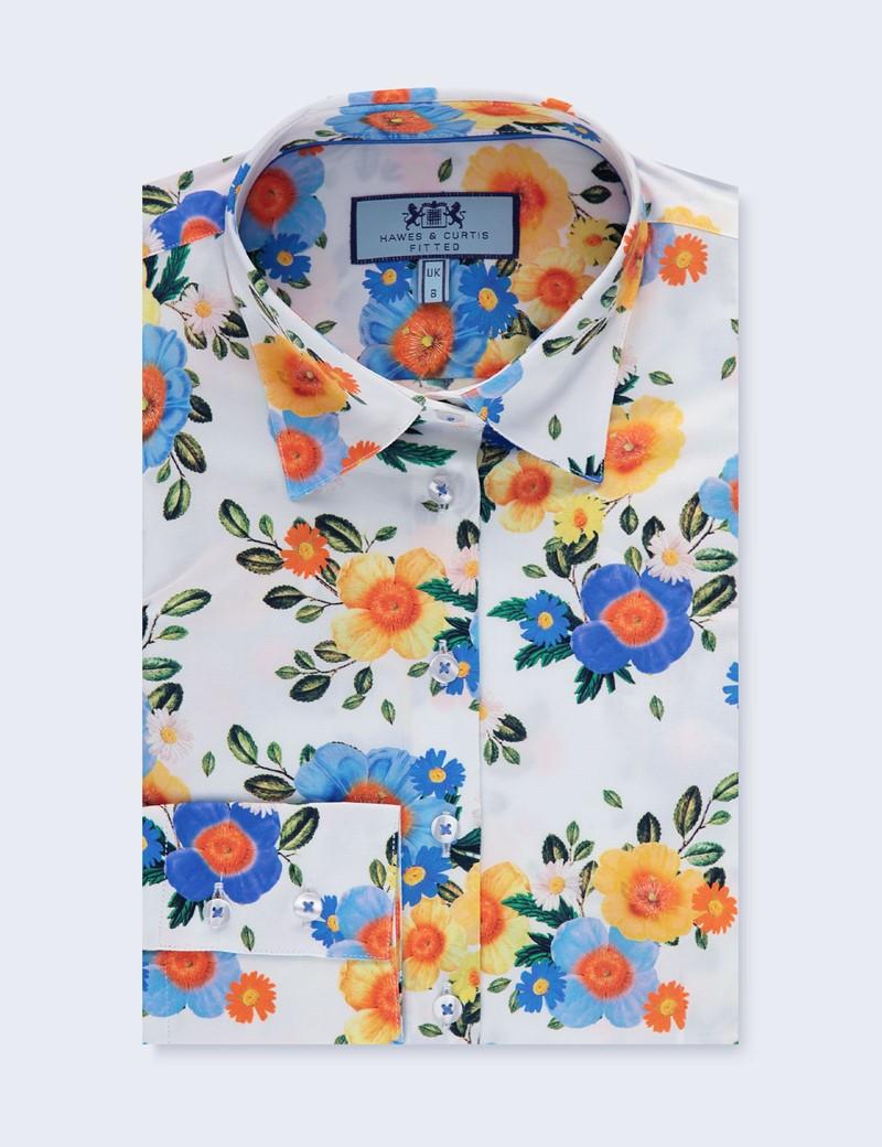 Bluse – Slim Fit – Baumwollstretch – weiß & orange Frühlingsblumen