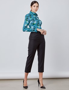 Women's Teal & Blue Floral Fitted Shirt - Single Cuff