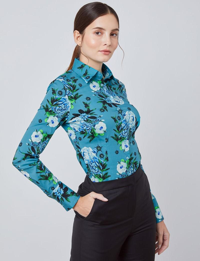 Bluse – Slim Fit – Baumwollstretch – petrol Blumen
