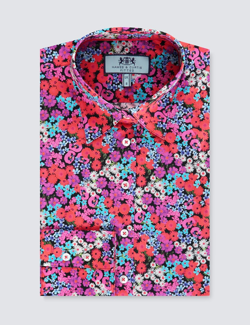Women's Red & Blue Colour Field Flowers Fitted Shirt - Single Cuff